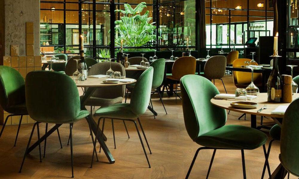 gubi beetle velvet dining chair