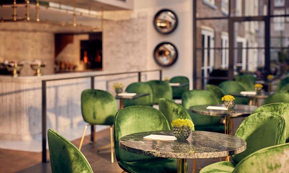 gubi velvet sedia verde fornitura hotel