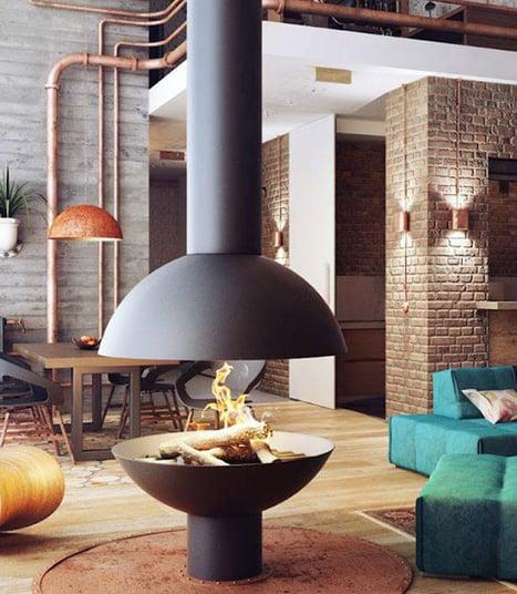 Un living arredato con lo stile rust-industrial
