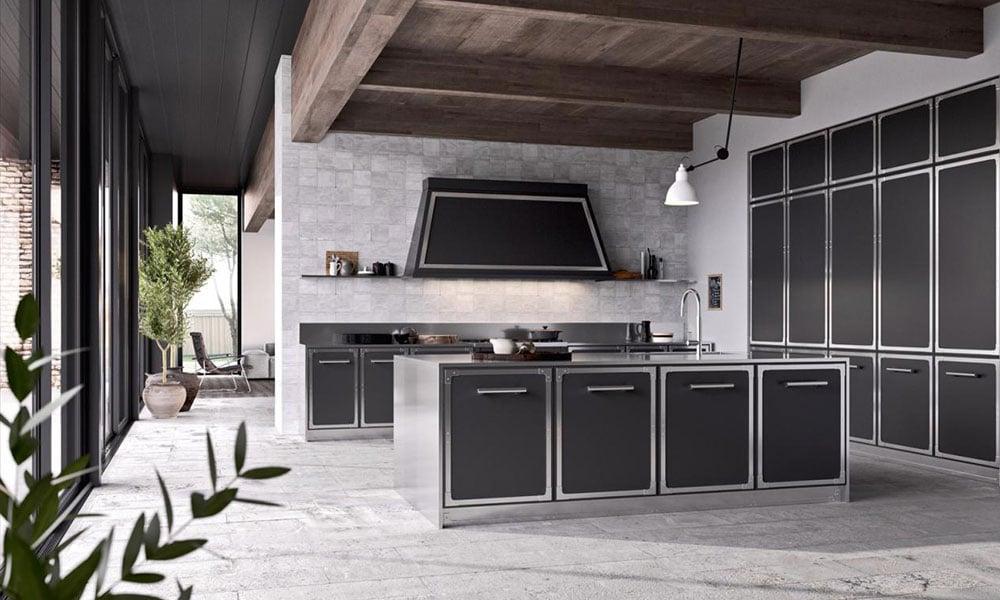 Una cucina arredata in stile industriale