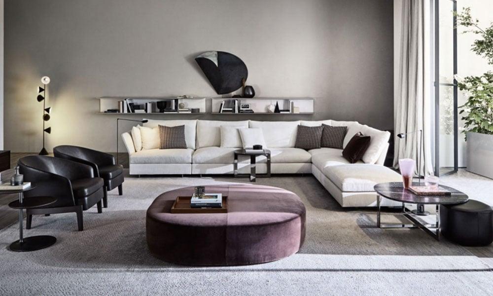 spazio living con divani in velluto