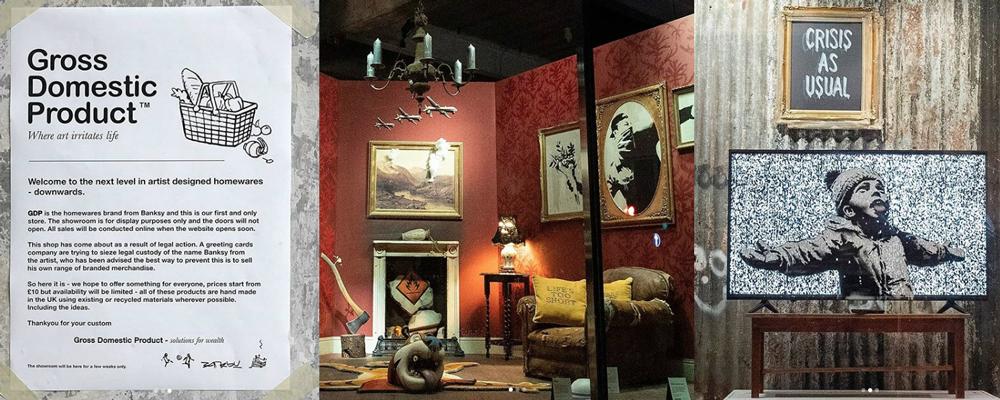 La locandina e le vetrine del negozio di Banksy