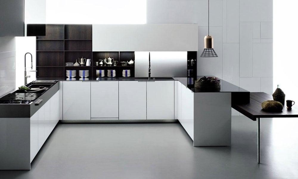cucina bianca Boffi con legno