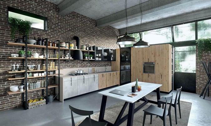 Una cucina arredata in garage