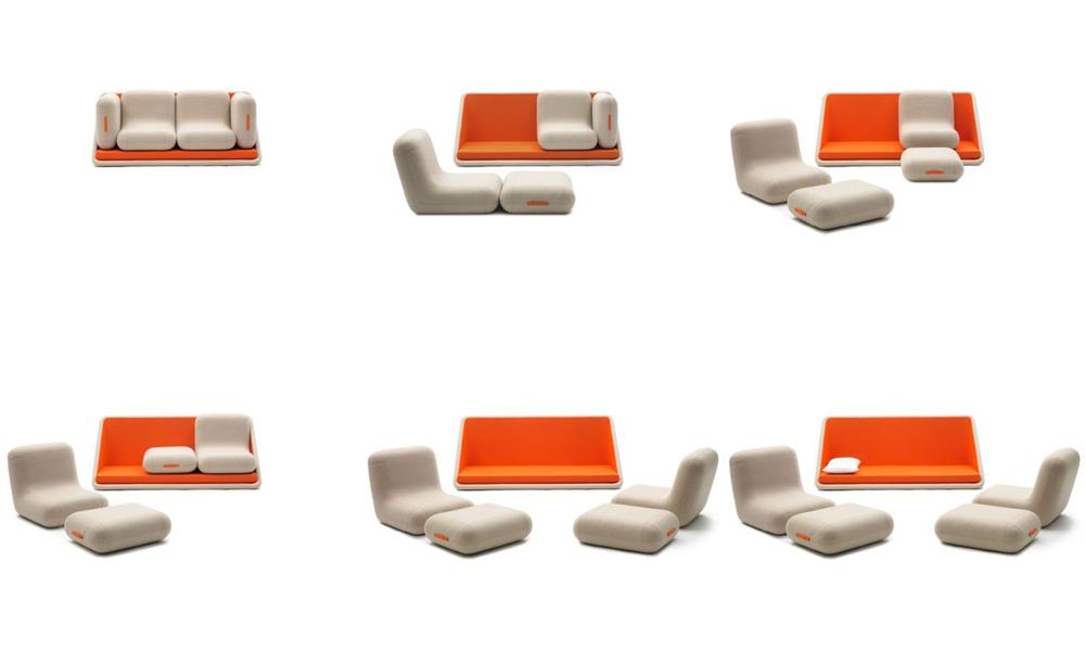 Il divano letto Concentrè de Vie di Campeggi in tutte le sue possibili trasformazioni