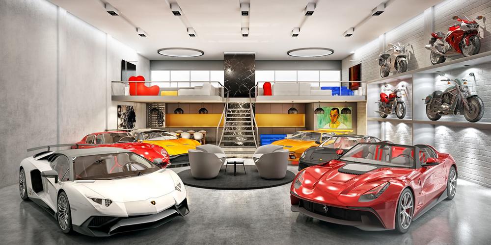 Un garage di lusso con un area relax al suo interno
