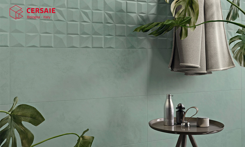 Un bagno con piastrelle 3D