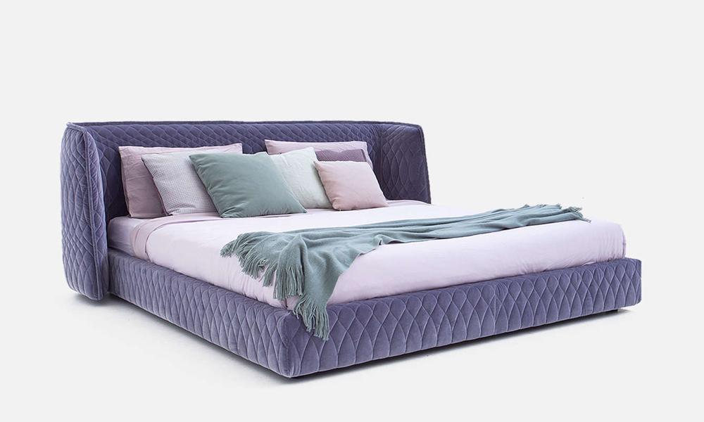 letto redondo bed moroso rivestimento trapuntato a losanghe by patricia urquiola