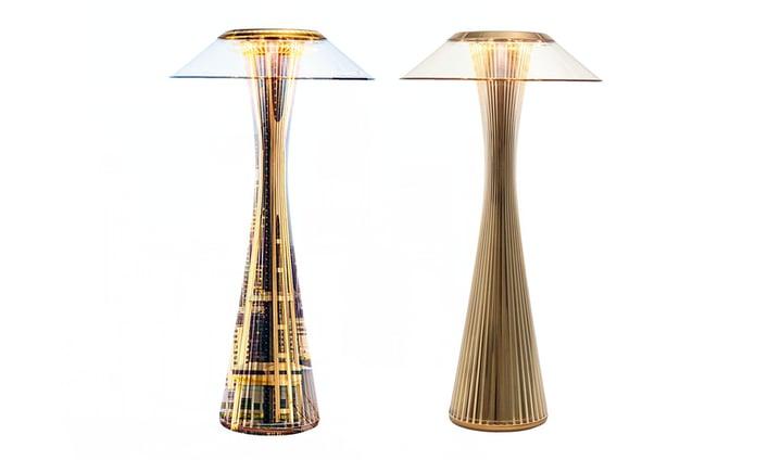 Una sovrapposizione della torre Space Needle con la lampada Space di Kartell