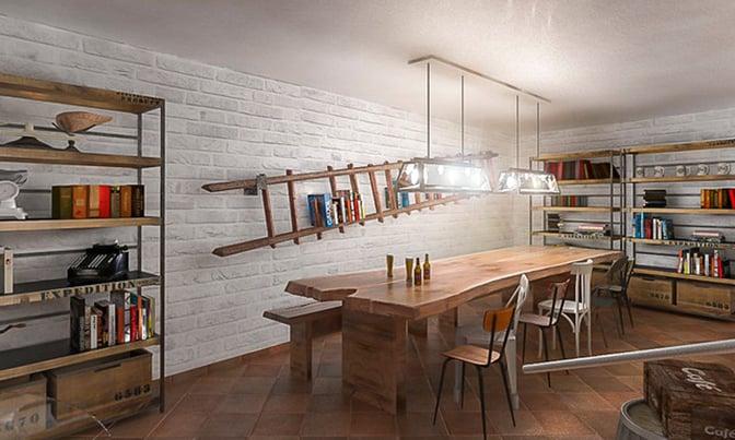 Un garage arredato con lo stile di una taverna