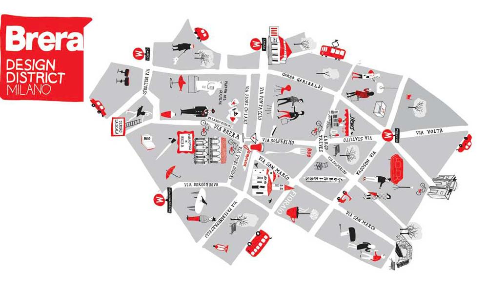 La mappa dell'evento Brera Design District di Milano